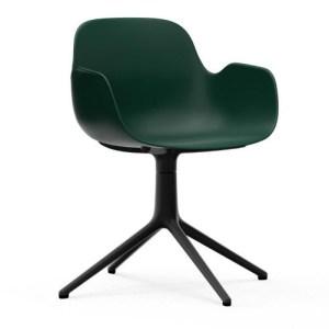 Normann Copenhagen Form drejestol med armlæn Green - Alu Sort