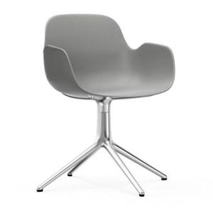 Normann Copenhagen Form drejestol med armlæn Grey - Alu