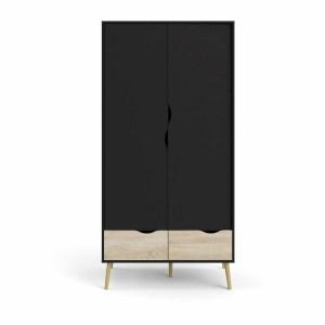 TVILUM Oslo garderobeskab, m. 2 låger og 2 skuffer - sort og egetræsfarvet folie