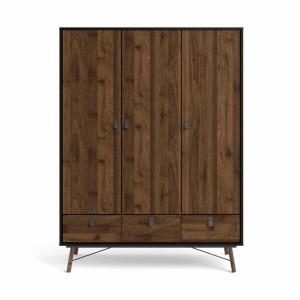 TVILUM Ry garderobeskab, m. 3 låger og 3 skuffer - valnød/sort folie og træ