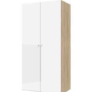 TVILUM Save garderobeskab - egetræsstruktur/hvid højglans og spejlglas, m. 2 låger og 2 hylder