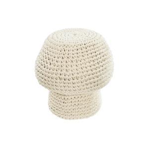 LAFORMA Enrica puf, champignon formet - hvid bomuld og uld (Ø30)