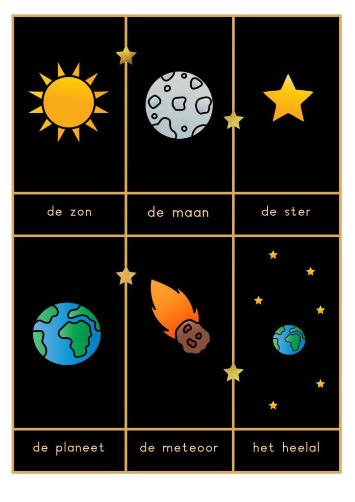 woordkaarten heelal