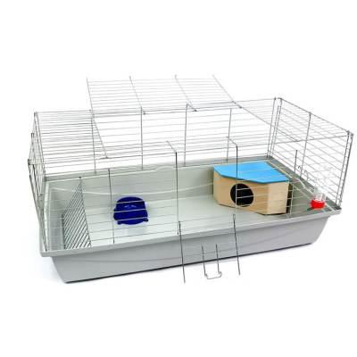 Klatka dla królika lub świnki morskiej 100cm z domkiem narożnym