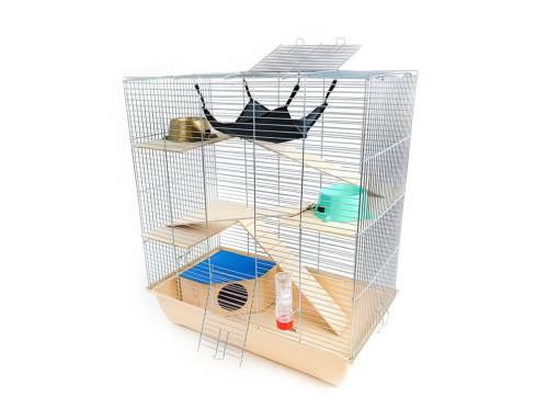 Klatka dla gryzonia Mega3 z domkiem, drewniane wyposażenie, beżowa kuweta