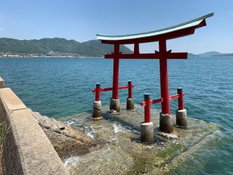 Red torii gate placed just offshore from the coastal road