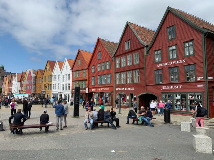 Bryggen, a series of Hanseatic heritage commercial buildings lining up the harbour in Bergen