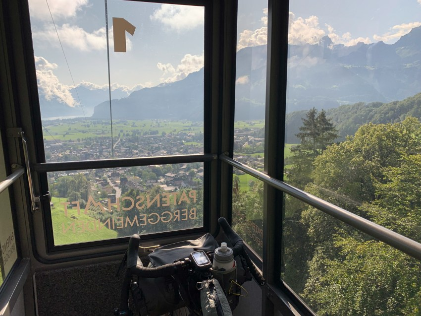 Saving some energy by taking the gondola up the mountain