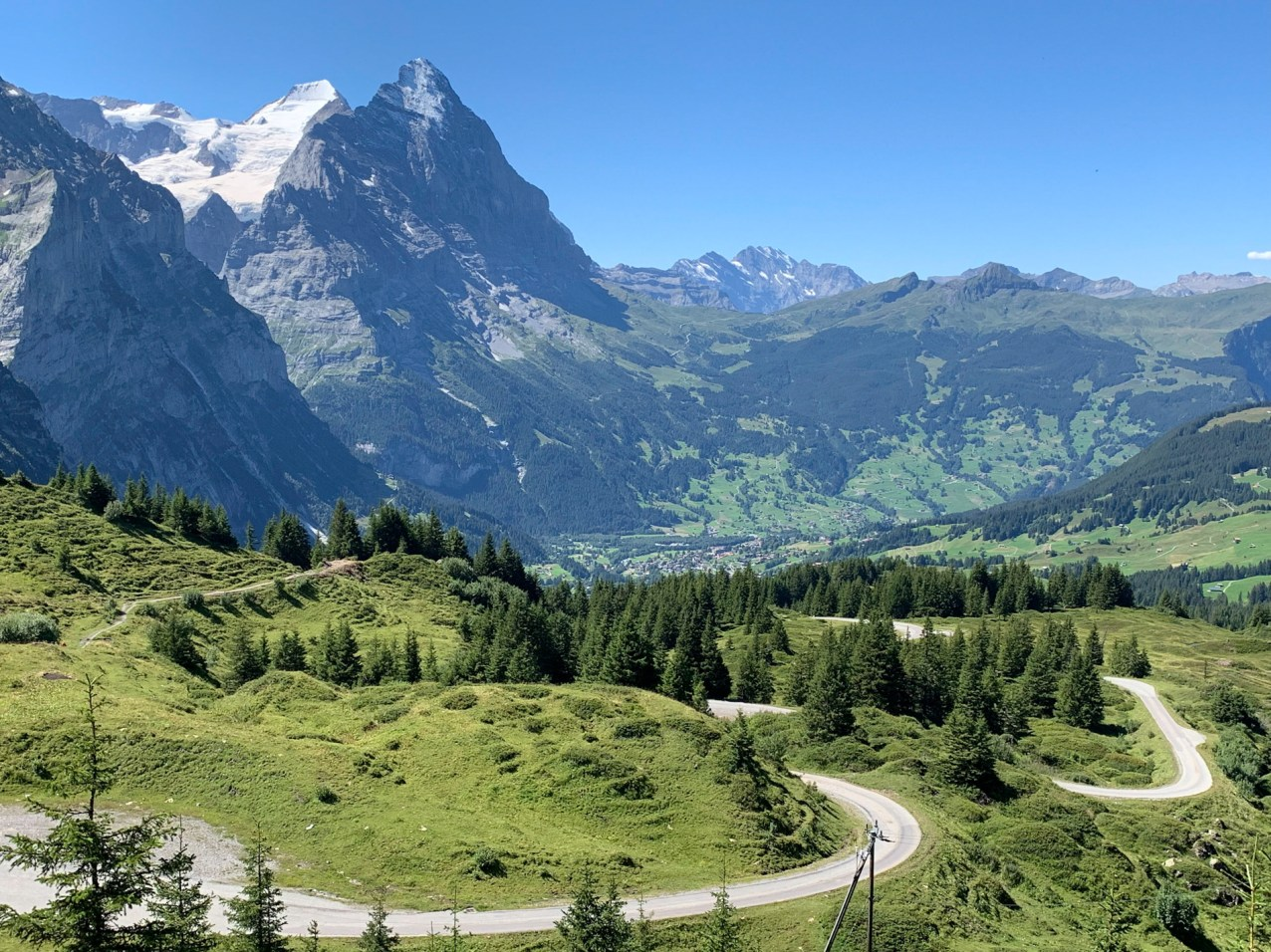 Looking west from Grosse Scheidegg towards the Eiger North Face and Grindelwald