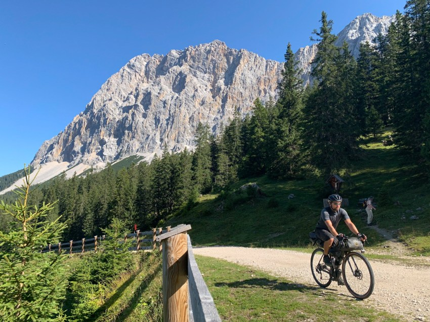 A substantial climb up to Ehrwalder Alm, with views of the Zugspitze massif
