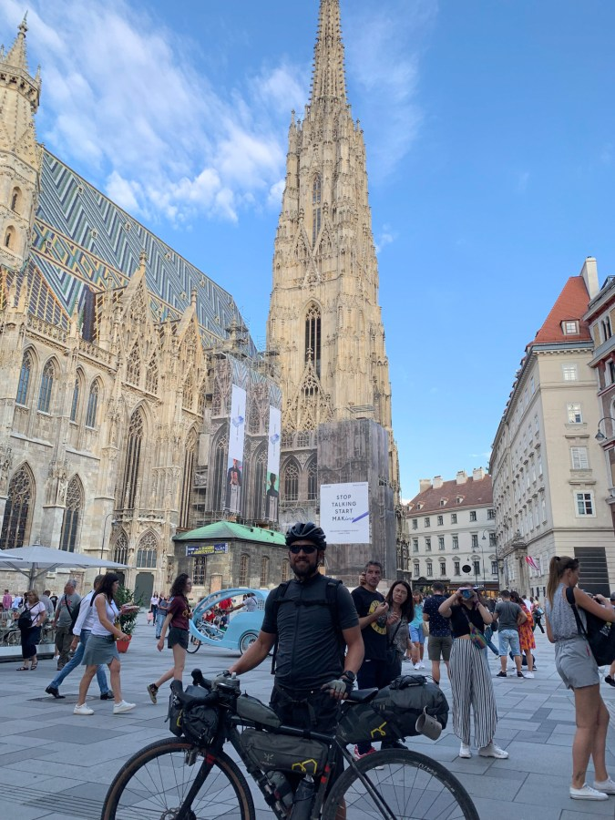 At St. Stephen's Cathedral in central Vienna after two weeks of bikepacking through the country