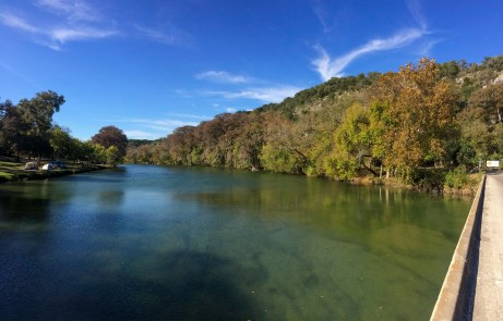 Crystal-clear waters of the Colorado River north of New Braunfels