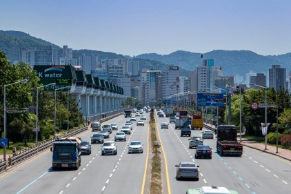 Navigating through the densely populated Busan to my accommodation