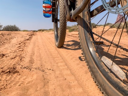 mountain bike tires getting buried in deep sandy sections