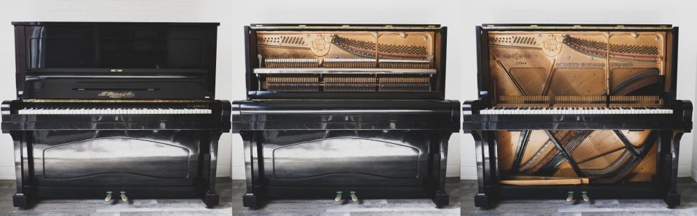 Klavier auseinander gebaut in 3 Schritten