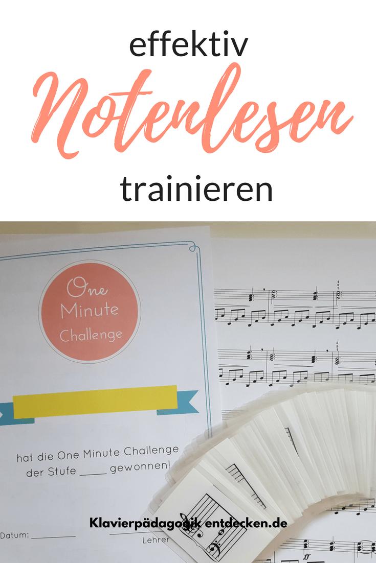 Notenlesen trainieren, Ideen für den Klavierunterricht, One Minute Challenge