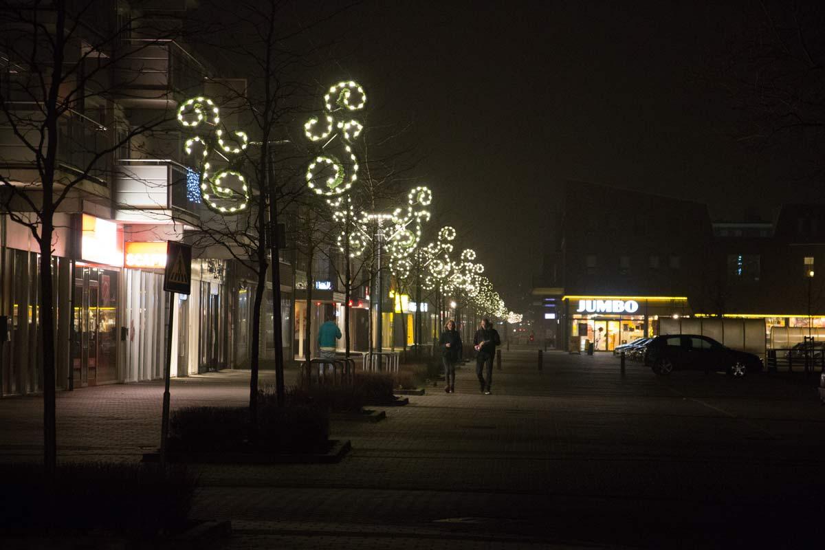 centrum, nacht, klazienaveen, kerst