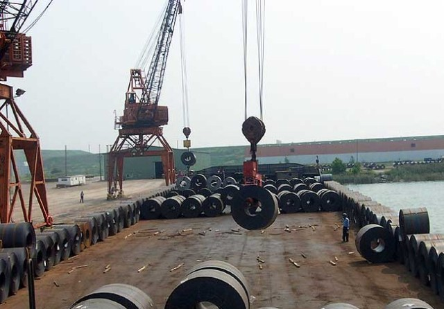 Steel Coil being lifted by crane