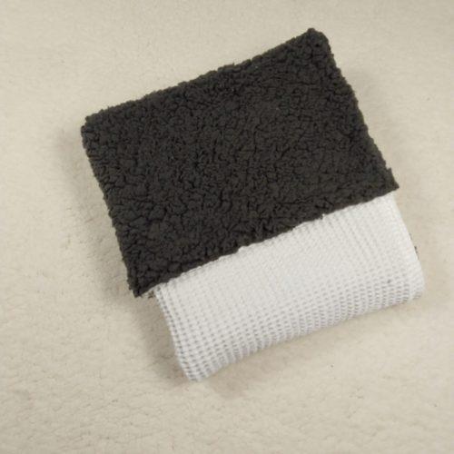 Wafel grijze teddy kinderwagen deken wit