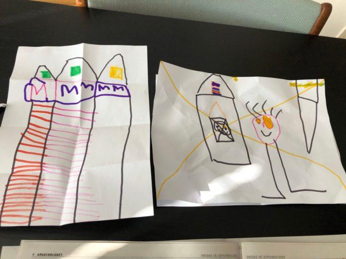 tekeningen gemaakt op de børnehave