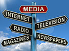 Public Relations image with media signs Media, Internet, Television, Radio, Magazines, Newspapers, Michael Kleiner Public Relations and Web Design and apps