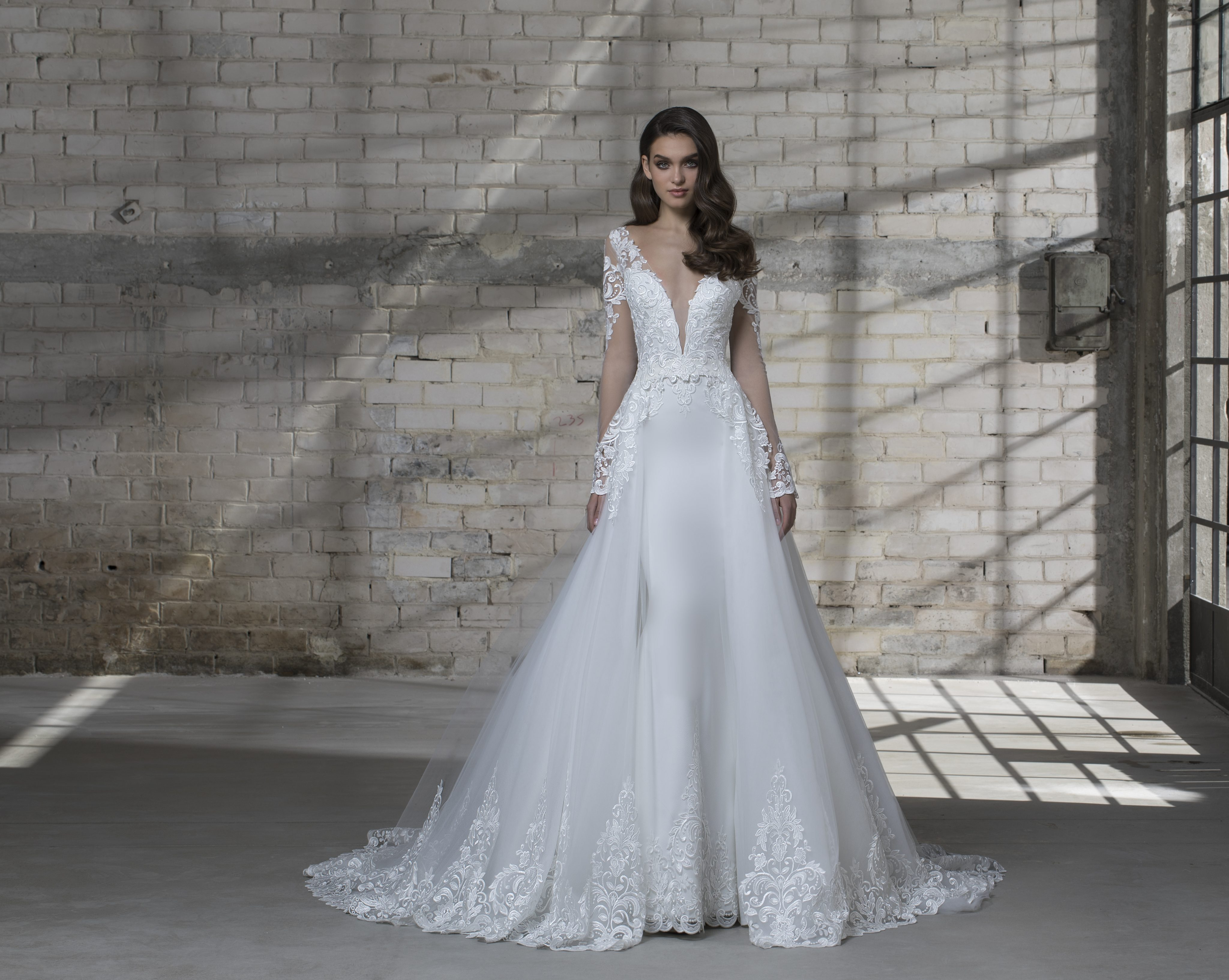 Long Sleeve Illusion Sheath V-neck Wedding Dress With