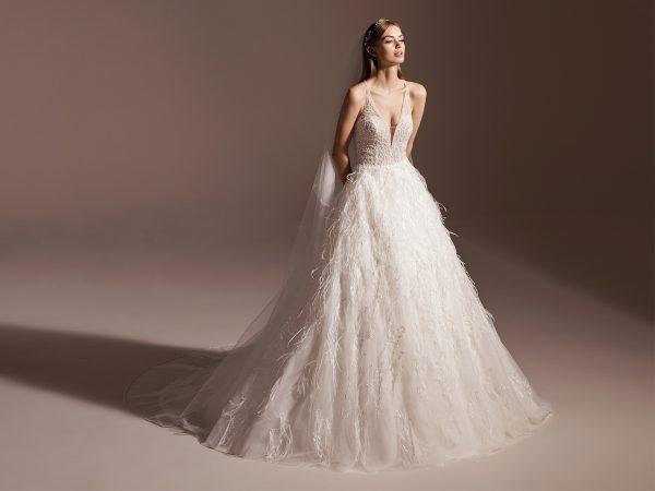 Sleeveless V-neck Feathered Ball Gown Wedding Dress