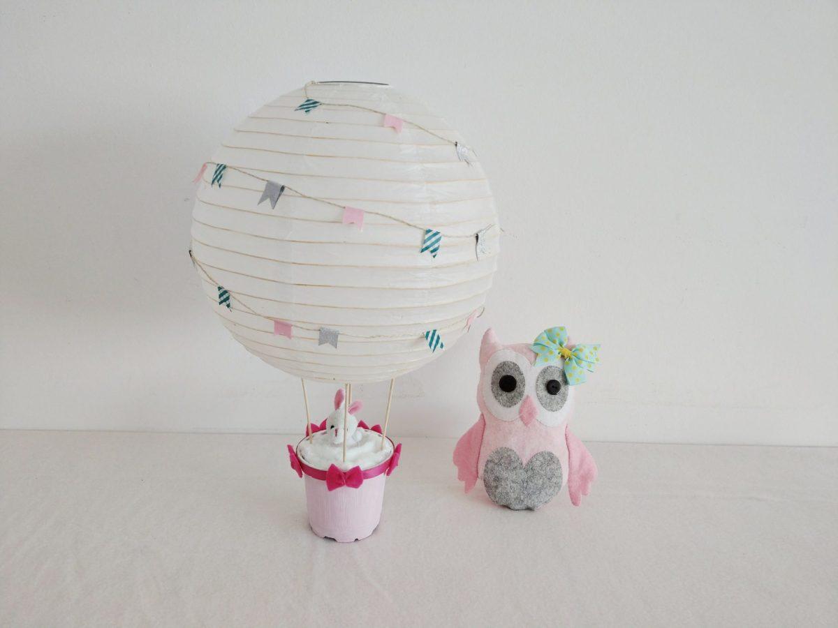 Heißluftballon Dekoration für das Kinderzimmer - Basteln für Kinder mit einem Lampenschirm