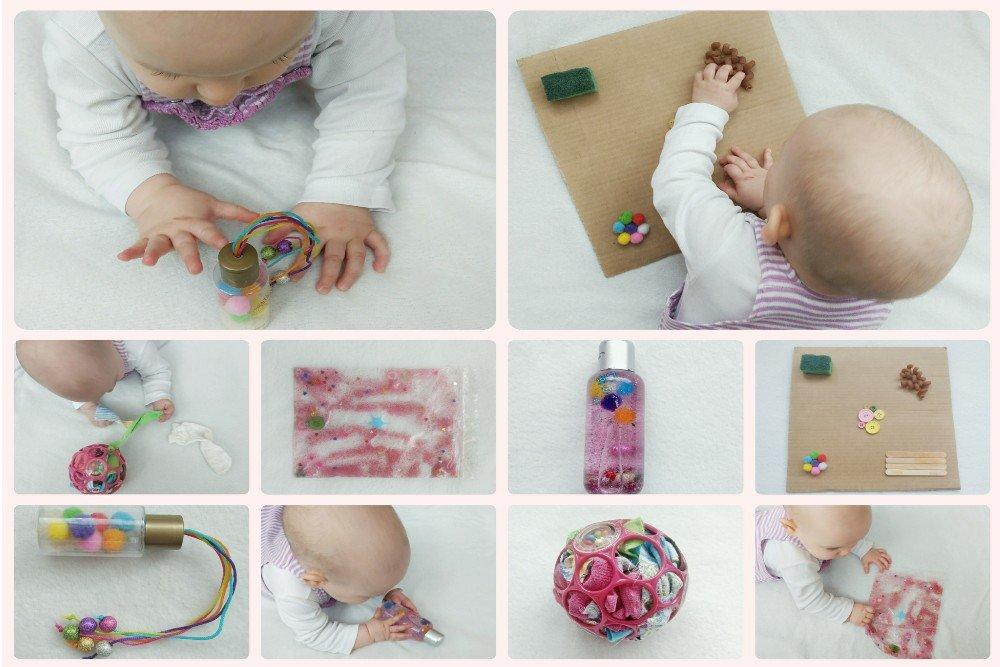 Fünf kreative selbstgemachte Spielzeuge mit denen sich euer Baby beschäftigen kann - Ideen für Aktivitäten zum Fördern von Sensorik und Feinmotorik