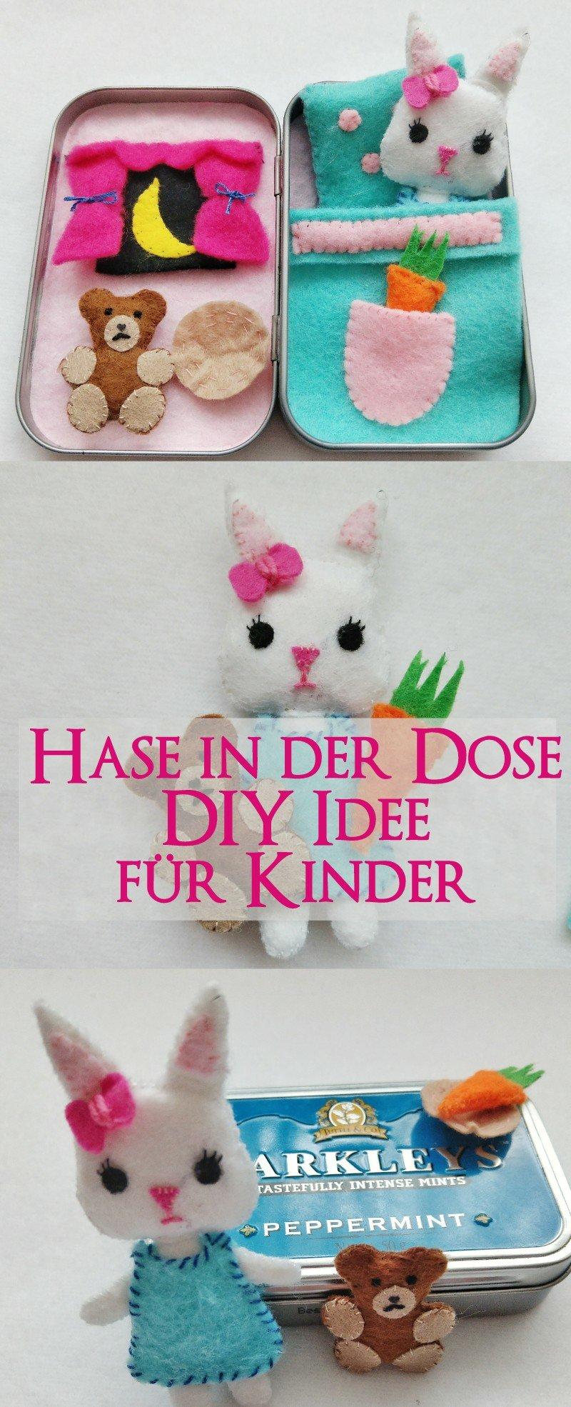 Aus einer alten Bonbon Dose könnt ihr ganz einfach ein süßes Mini Haus basteln. Tolles DIY Spielzeug für unterwegs oder als Geschenkidee. Hase in der Dose für Kinder selbermachen. #dosenhaus #diyidee #minihaus #spielhaus
