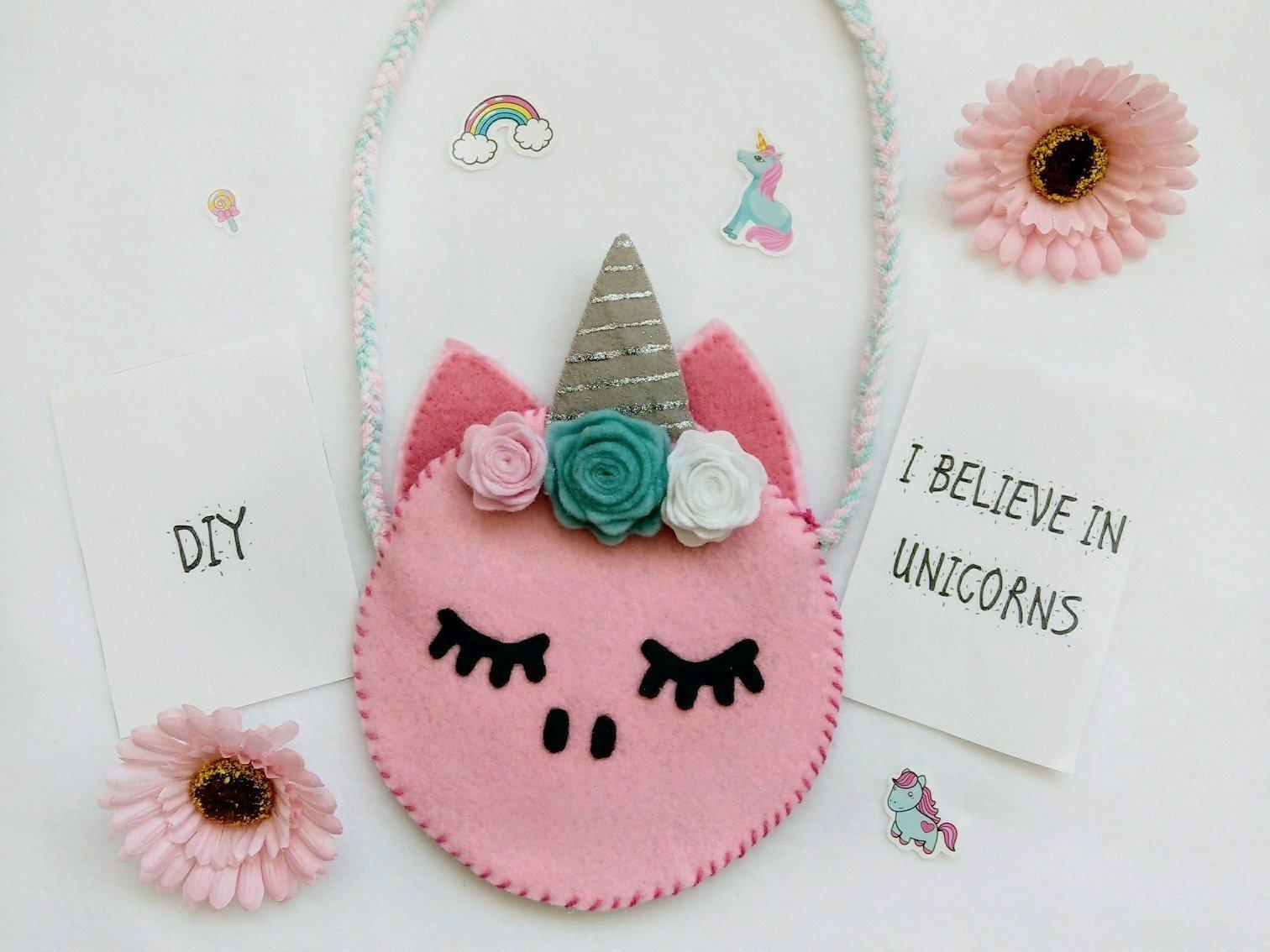 Geschenkidee für Kinder – Einhorn Tasche aus Filz handgenäht