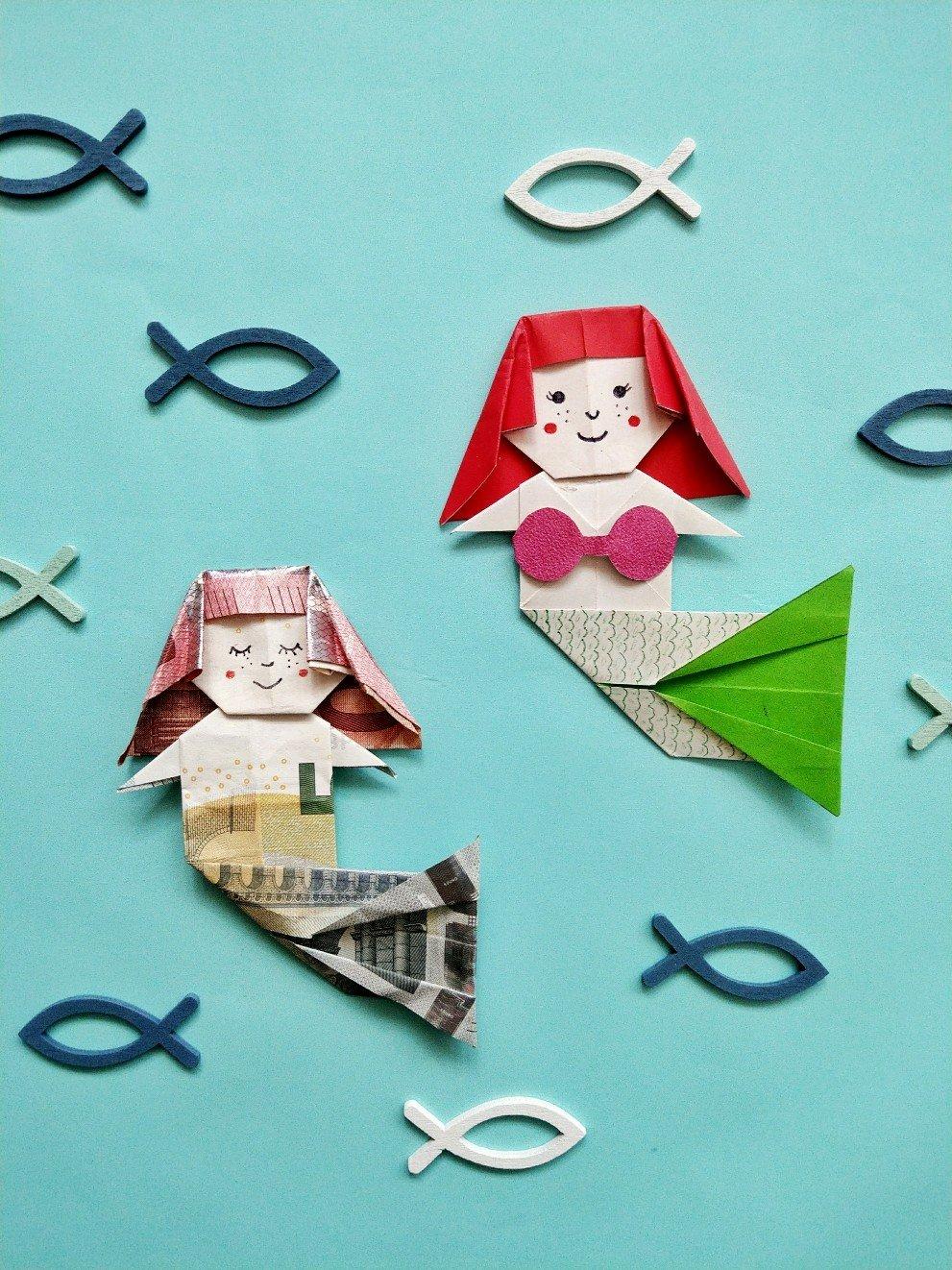 Origami Meerjungfrau aus Geld oder Papier. Tolles Geschenk oder als Spiel für eine Meerjungfrauenparty