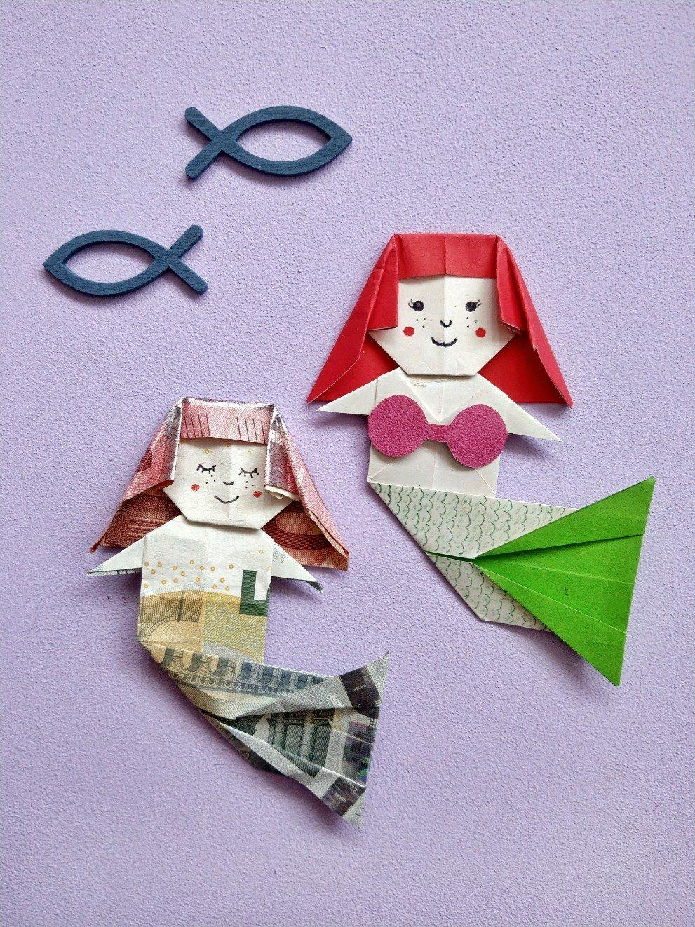 Hier zeige ich euch eine Origami Geldgeschenk Idee. Die Meerjungfrau lässt sich aus zwei Geldscheinen falten und kommt bei Kindern super an.