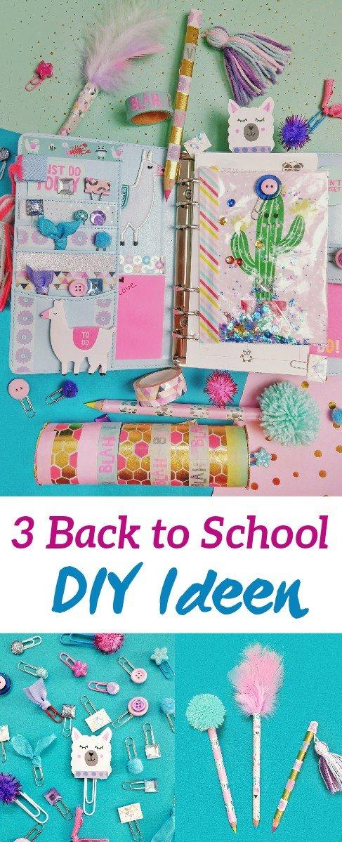 Drei Back to School DIY Ideen, Mäppchen aus Klopapierrollen, Stifte aufpimpen und Lesezeichen aus Büroklammern. Schulischen ganz einfach selber machen. Schritt für Schritt Anleitung
