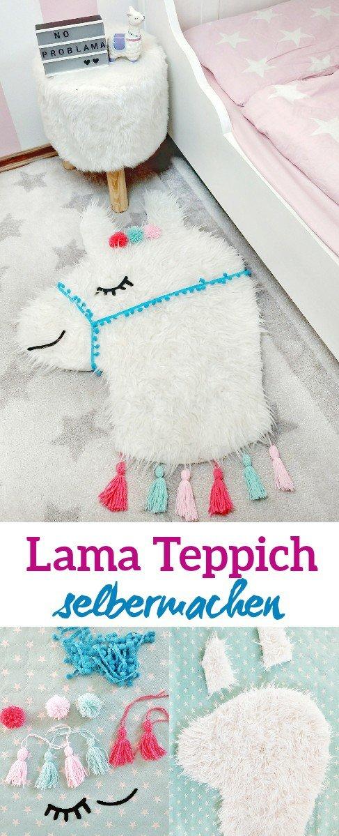 Eine tolle DIY Idee ist dieser niedliche Lama Teppich. Als Deko im Kinderzimmer sieht er wirklich niedlich aus und macht sofort gute Laune. Eine tolle Bastelidee für und mit Kindern. Einfach und schnell zum Selbermachen.