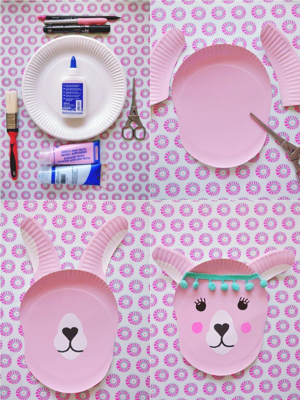 Einfache Schritt für Schritt Anleitung um süße Lama Tierköpfe aus Papptellern zu basteln.