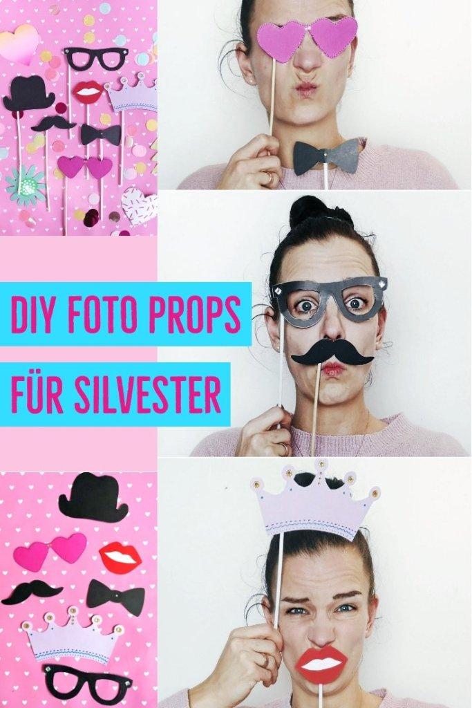 Hier zeige ich euch tolle DIY Foto Props für Silvester. Eine tolle DIY Idee für die nächste Party. Mit kostenloser Schablone zum runterladen. DIY Party Idee.