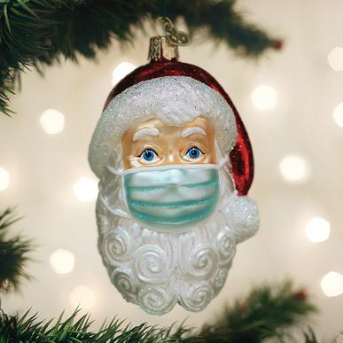 Santa Face Mask Christmas Ornament