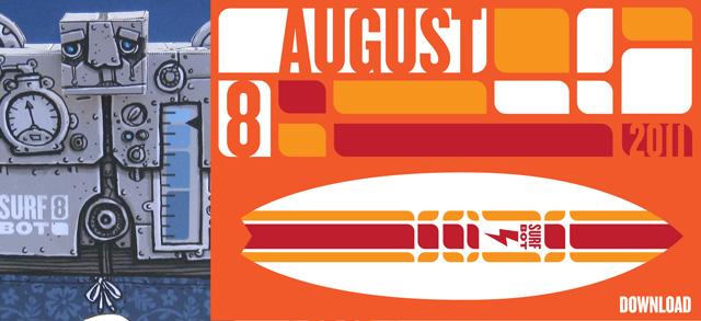 Augustkalender : Surfbot erinnert an den Urlaub!