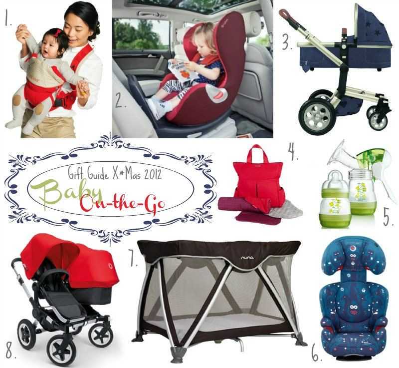 kleinstyle christmas gift guide 2012 baby on the go weihnachtsgeschenke familie stokke mycarrier, cybex sirona, joolz by fab, maclaren, mam, maxi cosi kid's choice, nuna sena, bugaboo donkey