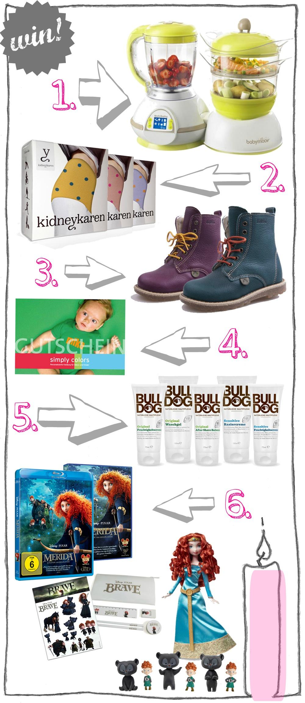 kleinstyle's adventzeit 2012 gewinne 1. advent Nutribaby von babymoov, kidneykaren, kavat boots, simply colors, bulldog cosmetics, disney/pixar Merida blu-ray mattel puppe