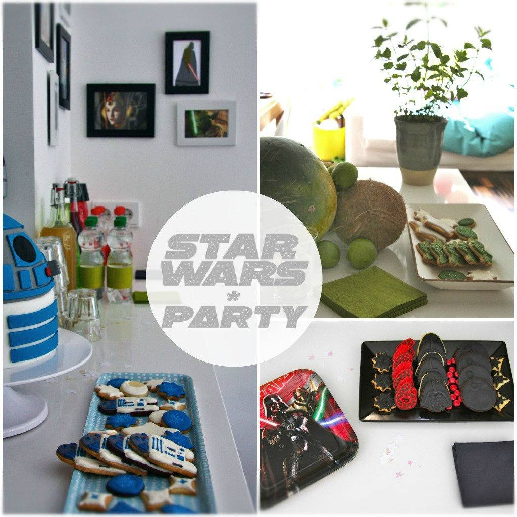Star Wars themed Kids birthday party with R2D2 cake and galaxy, Yoda, Darth Vader and R2D2 cookies