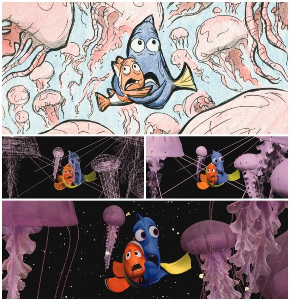 Disney Pixar Findet Nemo Entstehungsprozess Dorie und Marlin in den Quallen
