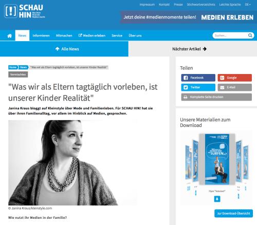 Janina Kraus von kleinSTYLE Interview auf Schau Hin!