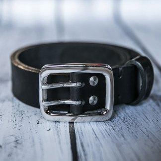 Кожаный двойной ремень ручной работы 40 мм черный мужской с литой пряжкой и двумя винтами из нержавеющей стали
