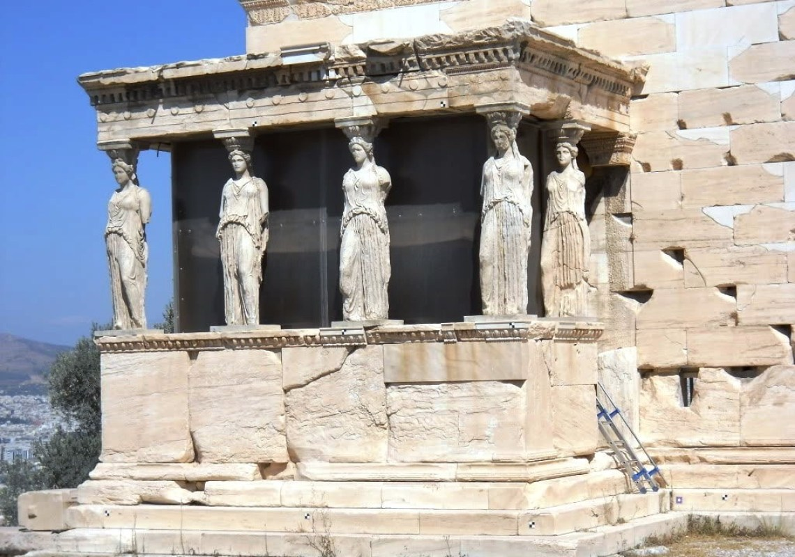 the porch of Caryatids Acropolis family guided tour kids love greece Athens Percy Jackson Mythology Family Trip 7-day Package activities for families