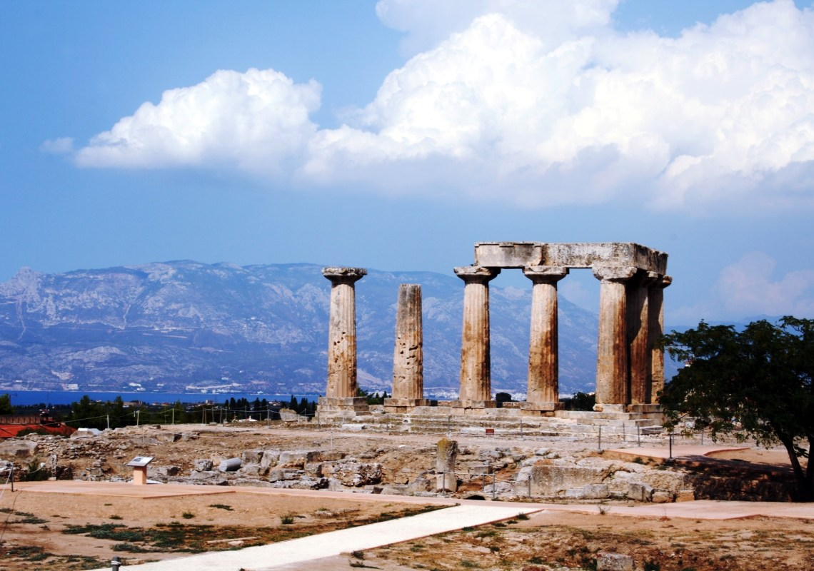 the temple of Apollo ancient Corinth family guided tour kids love greece Peloponnese Percy Jackson Mythology Family Trip 7-day Package activities for families