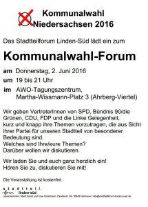 Handzettel Einladung Kommunalwahlforum 2016 Linden Süd