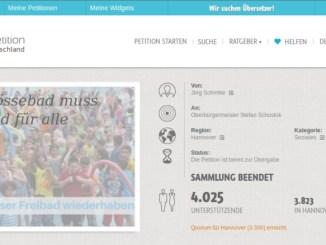Bildschirmfoto Petition Fössebad erfolgreich