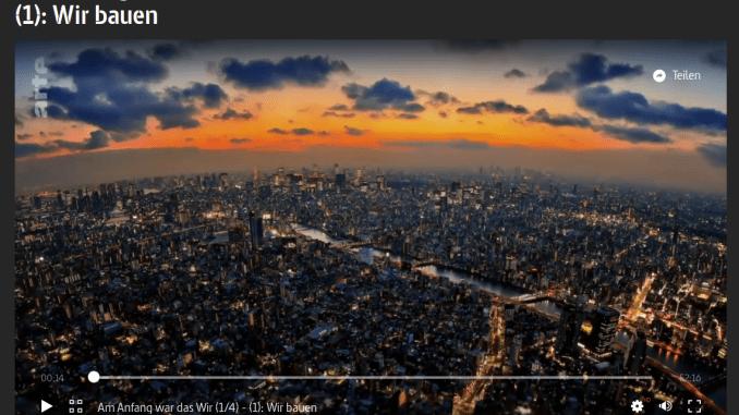 Skyline einer Stadt bei Nacht, Screenshot einer Doku auf ARTE